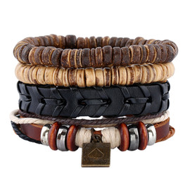 Wholesale American Poker - Fashion Jewelry PU Woven Leather Hemp Rope Bracelets Men's Wooden Beaded Alloy Poker Bracelet Sets Vintage Rock Punk Bracelet BH015