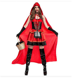 Wholesale Dresses For Adults - Sexy Little Red Riding Hood Costume for Women Fancy Adult Halloween Cosplay Fantasia Dress+Cloak PSM4033