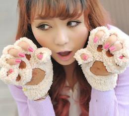 2019 aquecedores de mão sem dedos Senhoras Luvas Sem Dedos de Inverno, Fofo Urso Gato De Pelúcia Pata Garra Meia Luvas de Dedo, Metade Suave Coberto Mulheres Luvas Femininas Mittens