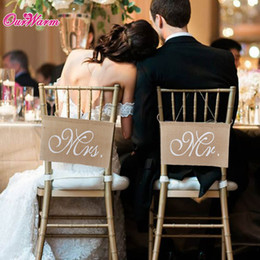 Wholesale Burlap Garland - 10pcs lot Khaki Mr. & Mrs. Burlap Chair Banner Set Chair Sign Garland Rustic Wedding Party Decoration