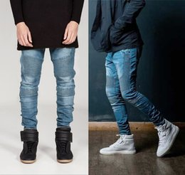 Wholesale New Hip Hop Jeans - New Streetwear Mens Skinny Biker Jeans homme Men's Motorcycle Slim Fit Hip Hop Swag kanye west style Denim Pants Joggers