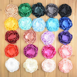 Wholesale Craft Clips - 50 pcs 4 inch Fabric Handmade Flowers Satin Layered Flowers For Hair Accessories DIY Crafting Without Clips Falt Back Photography props B135