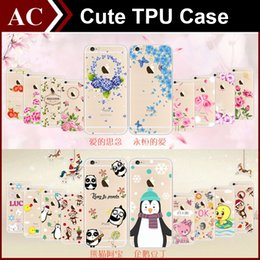 Wholesale Clear Flower Iphone Case - Colored Drawing Cute Cartoon Lovely Pet Flower Painting Clear Soft TPU Case With Dustplug For iPhone 6 6S Plus Ultrathin Back Cover Skin