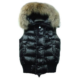 Wholesale Hooded Vests For Women - 2017 Winter Down Hooded Vest for Women 5 Styles Fur Coat Slim Fashion Vests Female Brand Sleeveless Jacket Woman Hot Sale High Quality