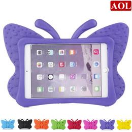 Mini caso de cáscara suave del ipad online-Para el nuevo iPad 2017 pro air 2/3/4 mini caja a prueba de golpes de dibujos animados Kids Safe 3D Butterfly Stand Back Cover Soft EVA Shell