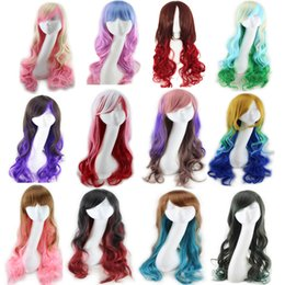 Wholesale Wigs Kanekalon Wholesalers - Long wavy ombre color ladies synthetic hair wig,green rainbow color japanese kanekalon fibre anime cosplay wig peruca