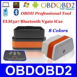 Wholesale Code Vgate Bluetooth - Wholesale-Super MINI ELM Vgate iCar ELM327 Bluetooth OBDII CAN-BUS For iOS Android PC 8 Colors Available ELM 327 BT iCar