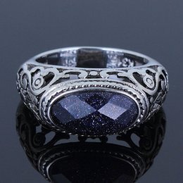 Wholesale Blue Wedding Sand - Classic High Polishing Stainless Steel Top Grade Montana Blue Sand Men Ring No Coating Natural Lead Free Anniversary