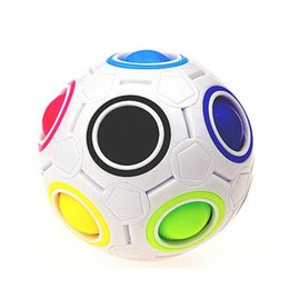 Wholesale Puzzles Shapes - 2017 selling Rainbow White Football Spherical Ball Shaped Magic Cube Speed Puzzle Toy 5.5*5.5*5.5cm