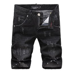 Wholesale Jeans Style For Short Men - Wholesale-2016 Summer classic Washed Black Skull P Short Jeans For Men Frazzle Skinny Knee Length Pants Punk Style Famous Brand
