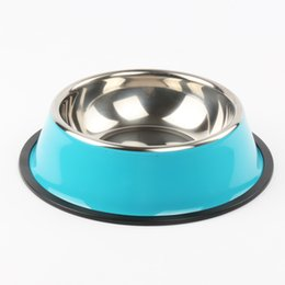 Wholesale Bowls Supplies - Reamic solid stainless steel pet food bowl single basin supplies & anti skid base blue and orange