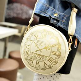 Wholesale Small Cute Clocks - 2017 New Fashion Women's Round Shoulder Bag Clock Graffiti Retro Female's Small Cute Korean Style Crossbody Bags Free Shipping
