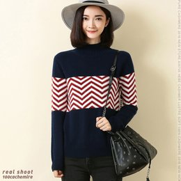Wholesale Ripple Knitting - Wholesale- 100% Cashmere Sweater Women's High Neck Thick Turtleneck Navy Zigzag Stripes Style Pullover Ripples Sweaters Christmas Winter