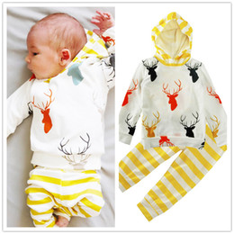 Wholesale Yellow Pants For Baby - Baby hoodie outfits 2pc set Deer head printing hoody+yellow white striped pants cute fashion Christmas toddlers clothing for 6-24m