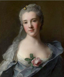 Wholesale Marc Painting - Framed Jean-Marc NATTIER Manon Balletti portrait with rose flowers,Free Shipping Handpainted Portrait Art Oil painting On Canvas Multi sizes