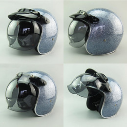 Wholesale Vintage Fiberglass - 2016 New Design Adult Fiberglass Motorcycle Open Face Helmets Vintage 3 4 Racing Scooter Helmets Jet Moto Helmets With Bubble Shield ECE