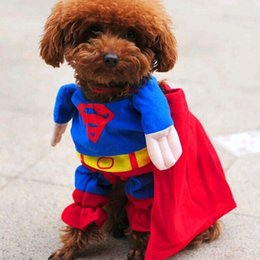 Wholesale Spring Male Outfits - 2016 Pet Costume Cool Police Uniform with Hat Dog Cat Policeman Outfit Clothing Superman Batman Spiderman