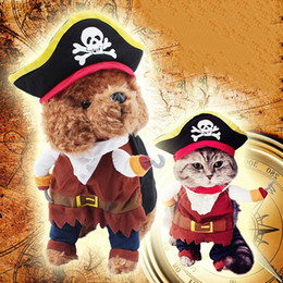 Wholesale Mixed Halloween Costumes - Pets Pirate Dog Grooming Costumes 4 Sizes Cotton Maded Dogs Cats Clothes Two Feet Standing Look Mixed Colors Movie Figure Copy