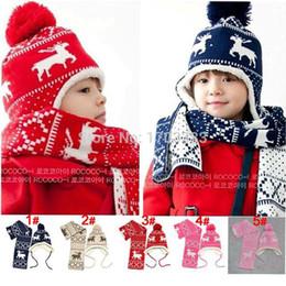 Wholesale Velvet Hat Gloves - 2016 New Winter Christmas deer velvet ear Caps Baby Hats Boys Girls Warmly Beanie Five Star Hat + Scarf Sets