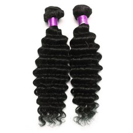 Wholesale Black Brazillian - Brazilian Peruvian Malaysian Indian Deep Wave Virgin Hair Natural Black 6A Brazilian Deep Wave Virgin Hair Extensions Brazillian Hair Wefts