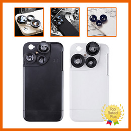 Wholesale Telephone Cases - Fisheye Lens Telephone Lens 2X Macro lens Wide Angle 4 in 1 External Photo Lens Case Camera Case For IPhone 6 6s Plus