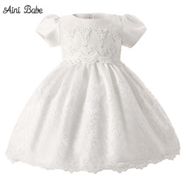 Wholesale Baby Little Princess Dresses - Aini Babe Baby Girl Dress Little Princess Girls Bridesmaid Clothes White Beautiful Christening Gown Baby Baptism Outfits 2 Years