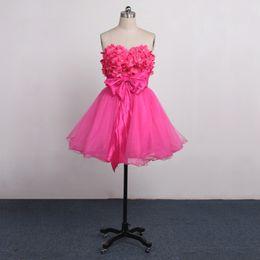 Wholesale Sexy Chiffon Dre - A-Line2016 hotsale mini dress flower design chiffon strapless dre Cap Sleeves Pink Satin Short Evening Dress 2016 Vestidos