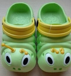 Wholesale Boys Home Slippers - Wholesale-New Arrival Home shoes children Baby Cartoon Slippers Caterpillars Pattern Shoes for Boys Girl Breathable Beach Wear