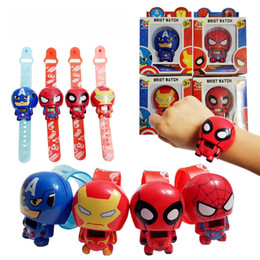 Wholesale Transformer Toy Wholesale - Children Superhero Watches Cartoon Digital Wristwatch Retractable Transformers Toy Watch Kids Novelty Toys Gifts Cheap Free DHL 528