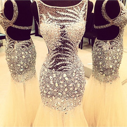 Wholesale Sheer Nude Dress Rhinestones - 2016 New Bling Sexy Evening Dresses Rhinestone Crystal Major Beading Mermaid Sheer Dress Formal Open Back Evening Wear Party Prom Gowns