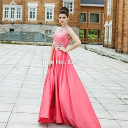 Wholesale Hot Pink Modest Prom Dress - Unique Prom Dresses 2018 Sexy Beading Sleeveless Chiffon Modest Train Long Prom Party Gowns Hot Sale Formal Evening Dress