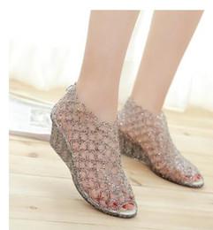 Wholesale Ladies Jelly Sandals - 2016 Women Summer Sandals Shoes New Peep Toe Transparent Nest Jelly Sandals Ladies Wedges Heels Jelly Shoes Size 36-41
