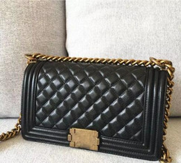 Wholesale Classic Leather Shoulder Bag - Classic Le Boy Flap bag women's Plaid Chain bag Ladies luxury High Quality Handbag Fashion Shoulder Messenger bags 25.5cm