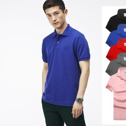 Wholesale Men Black T Shirt L - Hot luxury New Brand crocodile embroidery Polo Shirt Men Short Sleeve Casual Shirts Man's Solid Polo t shirt Plus Camisa Polo