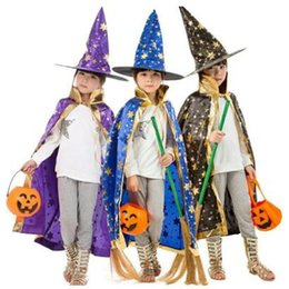 Wholesale Wizard Cap - 7 Colors Children Halloween Costumes Witch Wizard Cloak Gown Robe and Hat Cap Stars Fancy Party Props CCA7108 120pcs