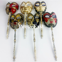 Wholesale Dress Accessories For Men - New Venetian carnival mask on a stick Men's handheld masks 6 colors available Event and party supplies Dress up accessories