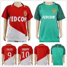 Wholesale Monaco Red - Kids AS Monaco Soccer Jerseys 9 FALCAO 8 MOUTINHO 19 SIDIBE 10 SILVA 5 NASCIMENTO FABINHO MBAPPE GLIK LEMAR Custom Youth Football Shirt