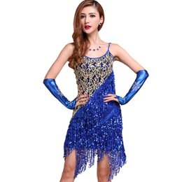 Wholesale Blue Ballroom - Wholesale-New Sexy Lady Latin Ballroom Salsa Dance Sequin Fringe Dress