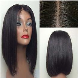 pelucas de pelo corto para barato Rebajas Cheap Sexy 1b # 6 # Corto Bob Straight Lace Front pelucas para mujeres negras a prueba de calor Glueless pelucas sintéticas con Baby Hair