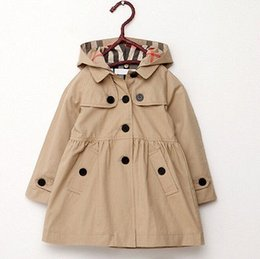 Wholesale Girls Autumn Coat - Wholesale- Girl's Wind Jacket with Removable Hooded Baby Girls Trench Coat Kids Winter Warm Jacket Windbreaker Outerwear 2-7Y Girls