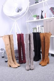 Wholesale Thigh Stretch Red Boots - 2018 Luxury Brand Original Box Stretch Boots Woman New Designer Beige Black Over the Knee Thigh High Boots Lady Fashion Shoes High Heels