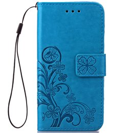 Wholesale Stand Hold Case - Embossed Imprint Lucky Clover flower Leather Wallet Case For Iphone 5 6 plus Samsung S6 S7 Edge LG kickstand Stand Hold hand strap