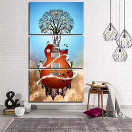 Wholesale Guitar Abstract Painting Canvas - Music Guitar Tree ,3 Pieces Home Decor HD Printed Modern Art Painting on Canvas  Unframed Framed