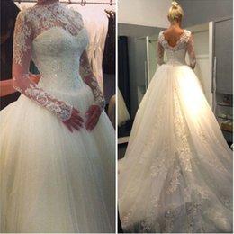 Wholesale Dress Sweetheart Neckline Romantic - Romantic Lace Ball Gowns Wedding Dresses with Sheer Neckline Long Sleeves Chapel Train Beaded Sequins Vestido De Novia Bridal