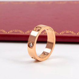 Wholesale Gold Bezel Ring - Couple Jewelry 6 style 18k rose gold plated love ring 316L titanium Lovers Engagement ring Wedding ring