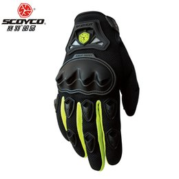 Wholesale Brown Leather Motorcycle Gloves - Wholesale- New Scoyco MC29 Motorcycle Gloves Motorbike Ride Bike Driving Glove Powersports Gloves Luvas Da Motocicleta Gloves