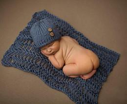 Wholesale Newborn Baby Sleeping Costume - Latest Newborn Baby Boys Crochet Photo Props Hot Cartoon Costume Infant Baby Halloween Costume Sleeping Bag Props Baby Hat