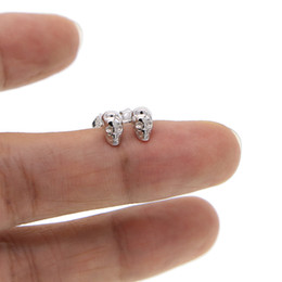 Wholesale Jewelry Skull 925 Silver - 925 Sterling Silver Skull Earrings Studs earring Small Punk Gothic retro Jewelry For Men And Women cool earing Brincos 2017 new