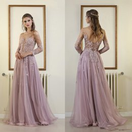 Wholesale Light Purple Lace - Long Sleeve Sheer Neckline Prom Dresses Lace Appliqued Backless Tulle A Line Evening Gowns Cheap Vintage Light Purple Party Dress