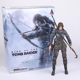 Wholesale Action Plays - The Tomb Raider Action Figure Lara Croft Play Arts Kai Toys Pvc 270mm Anime Movie Toys Rise Of The Tomb Raider Playarts Lara
